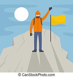 Man climb the mountain peak background, flat style