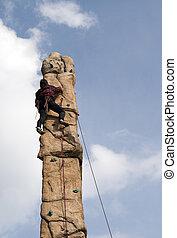 man climb wall