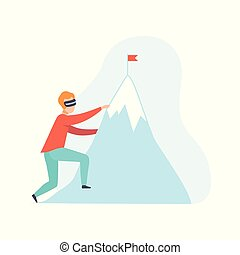 Man climbing a mountain wearing virtual reality digital glasses, guy using optical device for real visualisation and simulation vector Illustration on a white background