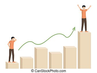 Man climbing bar graph vector illustration. Male character at beginning and at top of career ladder. Businessman motivation, self growth, personal improvement, business strategy, success