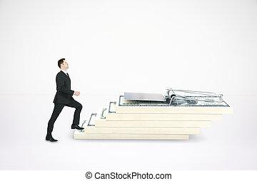 Man climbing dollar trap