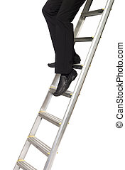 Man climbing down a ladder