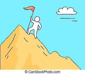 Man Climbing High Mountain on Vector Illustration