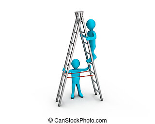 Man climbing ladder and another helping him - Person ...