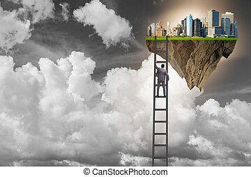 Man climbing ladder to floating island
