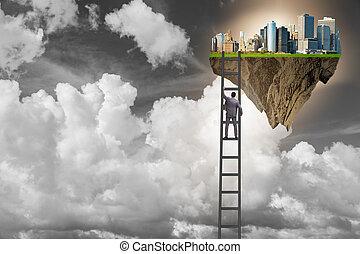 Man climbing ladder to floating island
