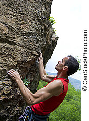 Man climbing on granite
