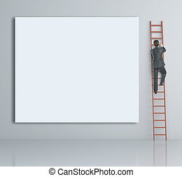 man climbing on ladder and blank poster