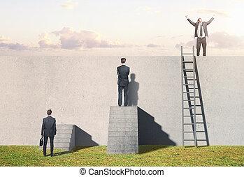 man climbing on ladder on wall