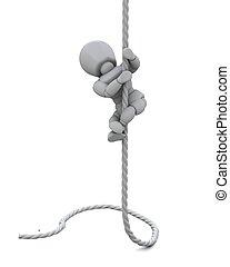 man climbing rope to success