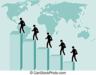 Man climbing to reach success in front of the world