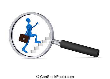 man climbing the ladder - 3d icon