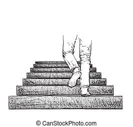 Man climbing the stairs.