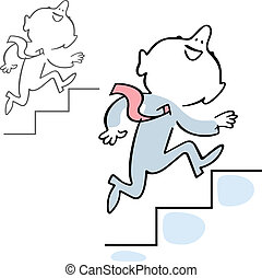 Man climbing the stairs