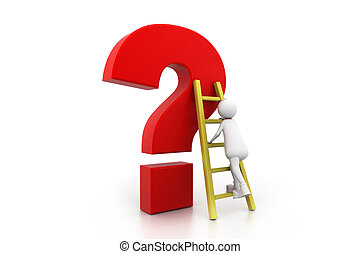 Man Climbing up the Question Mark