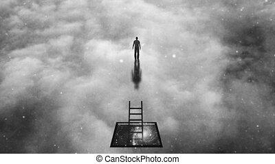 Man climbs to heavens. Spiritual art