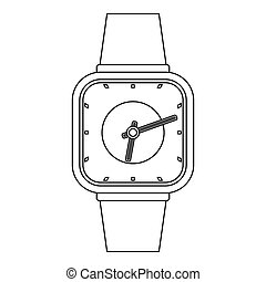 Man clock icon, outline style.