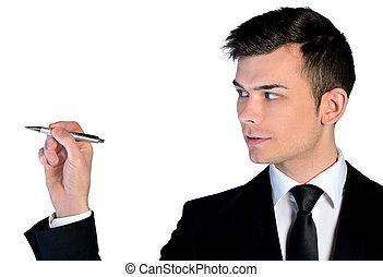 man, closeup, zakelijk, schrijvende
