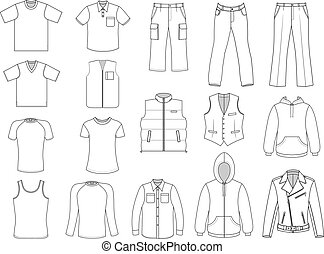 Man clothes collection isolated on white