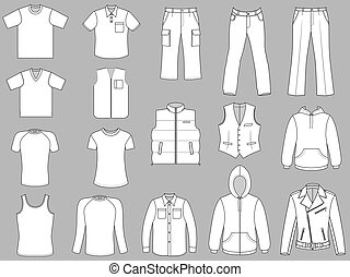Man clothes greyscale collection isolated on white