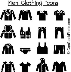 Man clothes icon set