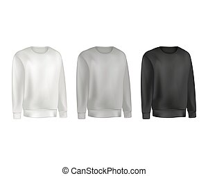 Man clothing set of sweatshirt and raglan sweater gray and black color. Fashion illustration of sports uniform t shirt. Blank vector template front views. Isolated on white background.