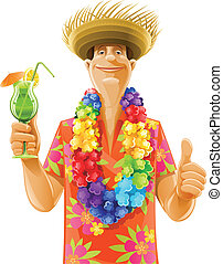 man, cocktail, hawaii, krans, hoedje