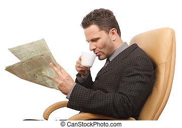 man, coffee, newspaper