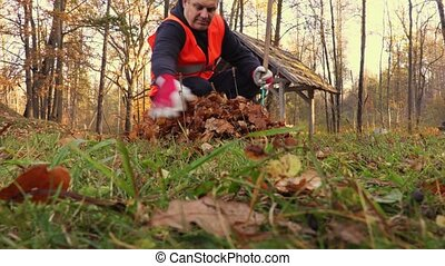 Man collect leaves on grass in park