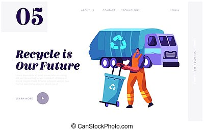 Man Collect Trash Container to Rubbish Lorry with Recycling Sign. Cleaning Garbage to Truck. Character Clean Dustbin to Reduce Littering Website or Web Page. Flat Cartoon Vector Illustration