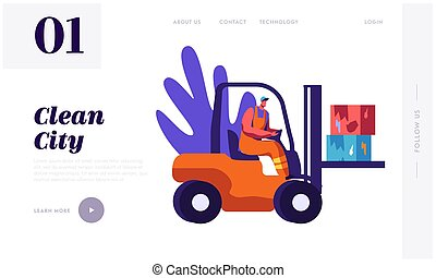 Man Collector Cleaning Trash to Rubbish Car Landing Page. Character Collect Cardboard Waste to Clean City. Cleanup Environment from Garbage Website or Web Page. Flat Cartoon Vector Illustration