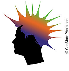 Man Color Hair Silhouette