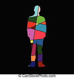 man color vector on black