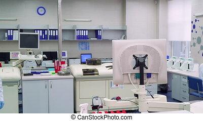 Man comes into the laboratory