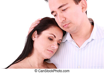 Man comforts woman. Isolated on a white background
