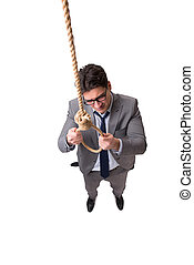 Man committing suicide through hanging himself isolated on white