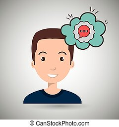 man communication speak bubble vector illustration eps 10