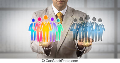 Man Comparing Multiethnic With Monocultural Team