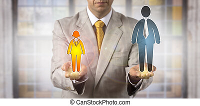 Man Comparing Small Female With Big Male Worker