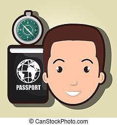 man compass passport travel