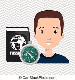 man compass passport travel