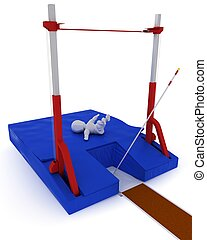 man competing in the pole vault - 3D render of a man...