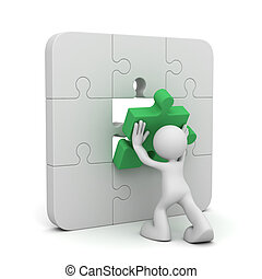 man completing the puzzle concept illustration