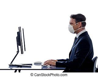 man computer anti virus concept - caucasian man cumputing...