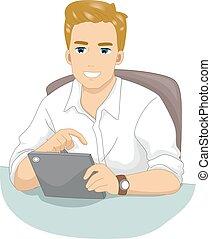 Man Computer Tablet Browse Internet