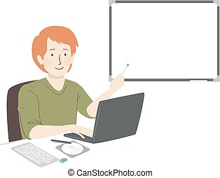 Man Computer Teacher Illustration