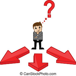 Man Confuse to Choose the Way - Which Way to Choose - Vector...