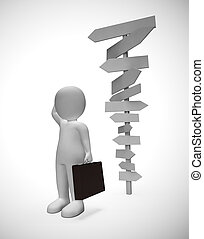 Man confused by too many signposts lost his way and needs guidance - 3d illustration