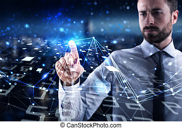 Man connecting to global world. Concept of interconnection, internet and network