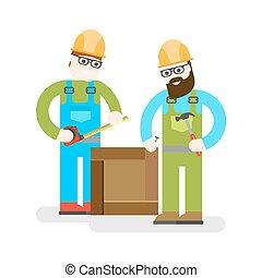 man., construcción, illustration., uniform., vector, fondo., servicio, edificio, constructor, tools., blanco, reparación, dos, especialistas, trabajadores, bueno